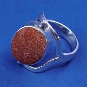 Size 7.75, vtg sterling silver handmade spinner ring w/ sodalite N goldstone
