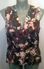 Ladies Womens Crossover Peplum Blouse Top Shirt Sleeveless Piper Size 16 BNWT