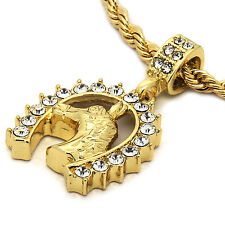 """Mens 14K Gold Plated Horse Hip-Hop 4 mm/24"""" Rope Chain With pendant"""