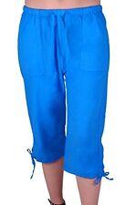 Womens 3/4 Length Casual Drawstrings Capri Crop Pants Trousers Shorts Bermuda