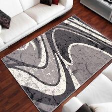 Wohnzimmer Teppich WELLEN MUSTER viele Varianten TOP DESIGNER TEPPICH in Grau