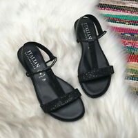 Italian Shoemakers Womens Rhinestone T Strap Low Wedge Sandals US 7 M Black