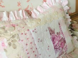 SALE!! Pink Ruffled PATCHWORK PILLOW made w/ Rachel Ashwell SHABBY fabric NEW