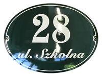 Hausnummer Emaille 30x40 cm Oval Hausnummernschild mit Wunschstraßennamen