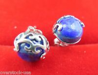 New 925 Sterling Silver Half-Ball Shaped lapis lazuli Stud Earrings