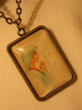 Lovely Brasstone Our Lady Mary Reflecting On Ten Commandments Pendant Necklace