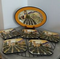 Vintage Signed Hand Painted 5  Square Side  Plates & 1 Oval Serving Platter Set