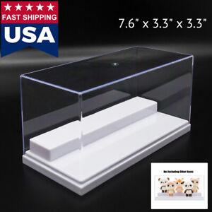 "US Clear Acrylic Display Box Case 7.87"" L Plastic 2 Step White Tray Dustproof UV"