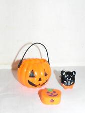 Estate=  Halloween  Lot of Pumpkin, Black Cat Whistle and Pumpkin Eraser LOOK