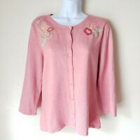 Pink Coral M Sweater Cardigan Linden Hill 3/4 sleeve Floral Applique Flowers EUC