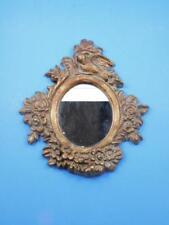 Cast Iron Framed Mirror Bird w/ Flowers Pattern Vintage