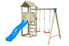 Columpio Torre de Madera Abeto Natural Niños Diapositiva Parque Juego Exterior