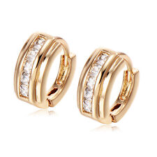 Cubic Zirconia Yellow Gold Plated Girls Babys Hoop Earrings Square
