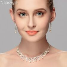 Top Crystal Pearl Choker Necklace and Earrings Party Gift Wedding Jewellery Set