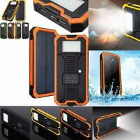 Waterproof 50000mAh Portable Solar Charger Dual USB Battery Power Bank For Phone