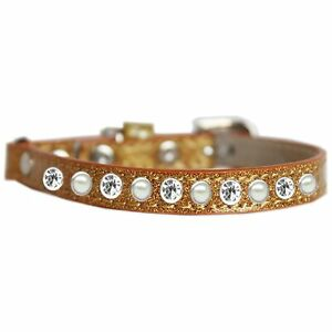 Mirage Pet Products Pearl and Clear Jewel Ice Cream Cat safety collar Gold Si...