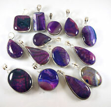 50 PCs Natural Blue Lace Agate Stone Designer Silver Plated  Pendants Jewelry