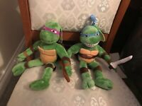 "TMNT TEENAGE MUTANT NINJA TURTLES 2 x 12"" SOFT TOY PLUSH VGC"