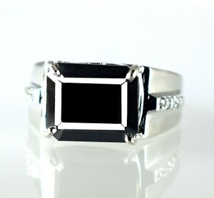 6.57 Ct Black Diamond Halo Solitaire 925 Silver Men's Ring Ideal Wedding Gift