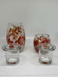 NEW YANKEE CANDLE AUTUMN LEAVES CRACKLE VOTIVE HOLDER~HARD TO FIND RETIRED SET 2