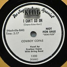 Cowboy Copas I Can't Go On DJ Promo 78 NM A Wreath on Door of My Heart Country