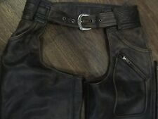 VINTAGE HARLEY DAVIDSON PANHEAD DISTRESSED LEATHER CHAPS - MEN'S SIZE SMALL !!