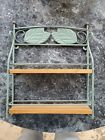 Vtg Wood Shelf and turquoise Metal by M. Kamenstein 14 x 11 Solid Wood Thailand