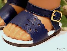 """**SALE** NAVY BLUE Flower-Cut DOLL SANDALS SHOES fit 18"""" AMERICAN GIRL DOLL D/Z"""