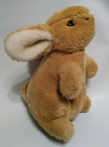 """Vintage Eden Bunny Tan White Small Plush Stuffed Toy Sitting Looking Up 7"""""""