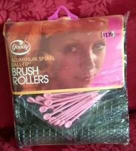 Vintage Goody Jumbo Brush Rollers 1973 Aluminum Spiral Ball Tip Curlers Pins NEW