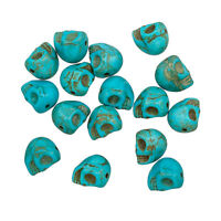 Gothic Skull Shaped Beads Dyed Synthetic Turquoise 10x8mm Pack of 16 (C98/9)