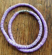 Purple Puka Clam Shell Beads Beach Surfer Necklace 18 inch Purple Dyed