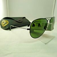 RAY-BAN RB3025 W3361 MATTE BLACK G15 GREEN POLARIZED AVIATOR SUNGLASSES 58MM 9.5