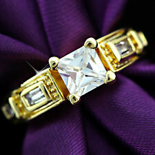 9K YELLOW GOLD GF VICTORIAN VINTAGE SQUARE BAGUETTE DIAMOND FILIGREE WOMENS RING