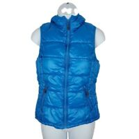 Tangerine Womens Hooded Puffer Full Zip Vest Small Cerulean Blue Pockets Lined