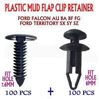 200PC FORD FALCON + TERRITOR AU BA BF FG XR6 XR8 Plastic Mud Flap Retainer Clip
