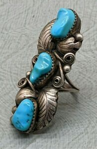 Lovely Rare Vintage Navajo Native American Sterling Silver Turquoise Ring B56