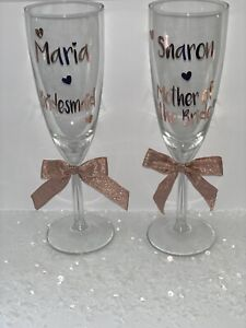 Personalised Role Wedding Hen Do Party Vinyl Decal Champagne Wine Glass Sticker