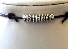 Mens Surfer Black Real Leather Cord Necklace /Choker Metal Beads Surf Adjustable