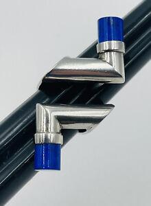 Vintage Sterling Silver Avant Garde Modernist Lapis Ends Ring Size 5.5