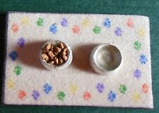Dollhouse Miniatures  Handcrafted cat food dish set -pretend food & water on mat