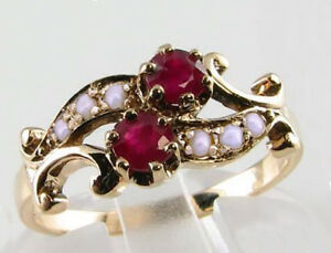 R266 Genuine 9K Yellow Gold Natural Ruby & Pearl By-pass Ring made in your size