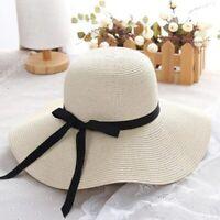 Chapeau De Paille D'été Chapeau De Soleil à Large Bord Pour Femme Protection UV