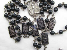 † HTF SCARCE ANTIQUE WW1 STERLING ENAMELED TEACHING PATER LINKS BLACK ROSARY †