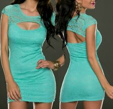 Sexy Miss Femme Girly Mini Robe Dentelle Out Cut Party XS/S NEUF Vert Turquoise