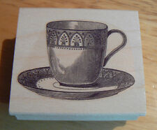 """P35 Teacup rubber stamp wood mounted 2.25x1.75"""""""