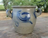 """Antique French Small Early Country Handmade Stoneware Blue/Gray Preserve Jar 5"""""""