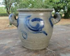Antique French Small Early Country Handmade Stoneware Blue/Gray Preserve Jar 5""