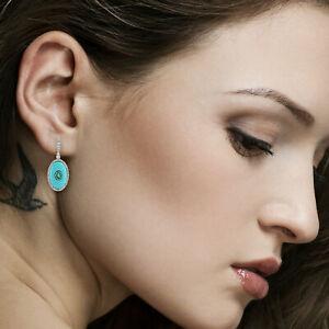 Genuine Diamond Emerald White Gold Turquoise Gemstone Dangle Earrings JP