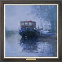 "Hand painted Original Oil Painting art Landscape boat on canvas 30""x30"""